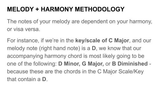 Melody Harmony Methodolgy